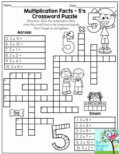 Crossword Puzzles Grade Multiplication Math Puzzle Worksheets