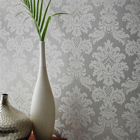 arthouse messina damask wallpaper silver