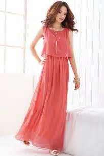 elegant sleeveless maxi dress with chiffon overlay oasap com