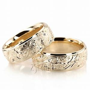 hh fc100866 14k gold trendy floral wedding band set With floral wedding ring set