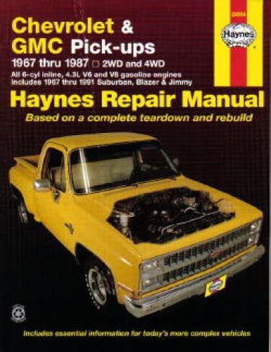 auto repair manual free download 1995 gmc 1500 club coupe spare parts catalogs haynes chevrolet gmc pickups 1967 1987 auto repair manual