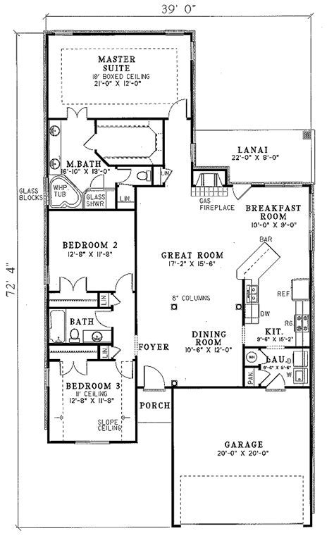 Traditional Style House Plan   3 Beds 2.00 Baths 1750 Sq