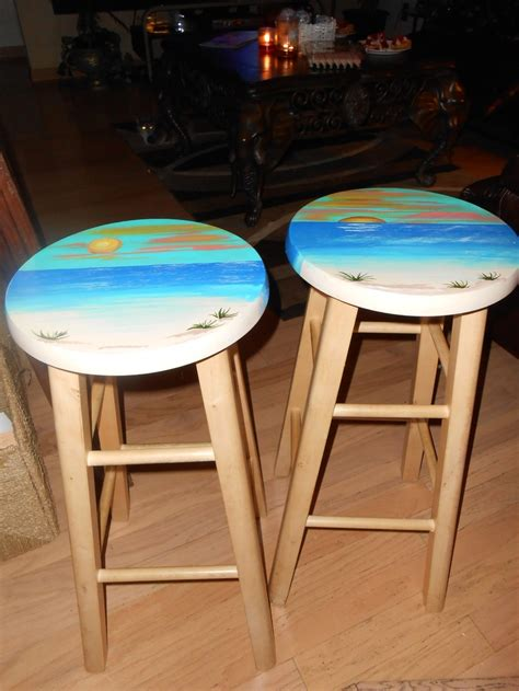 Set Of Round Solid Wood Bar Stools, Perfect For A Tropical