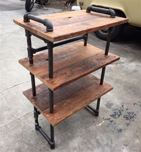 Small Black Iron Pipe And Reclaimed Wood Shoe Shelf By