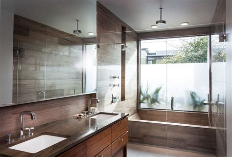 luxurious master bath graces  compact infill house