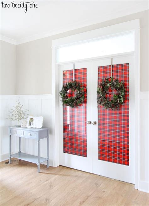 decorating french doors  christmas