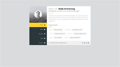Premium Layers Html Vcard Resume Template