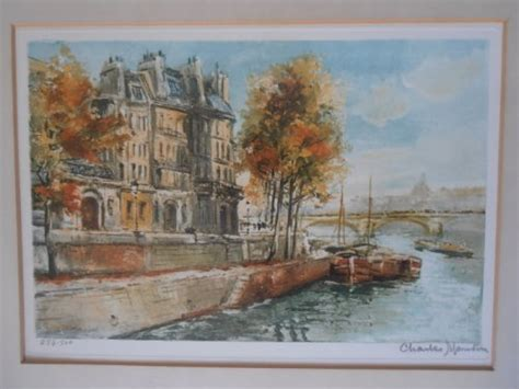 charles mondin pair coloured lithographs signed