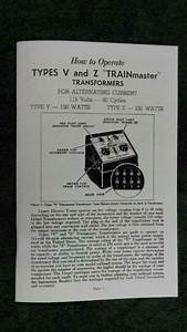 Lionel Type V Transformer 150 Watts Instructions Photocopy