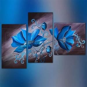 tableau floral 3 panneaux With salle de bain design avec peinture acrylique abstraite