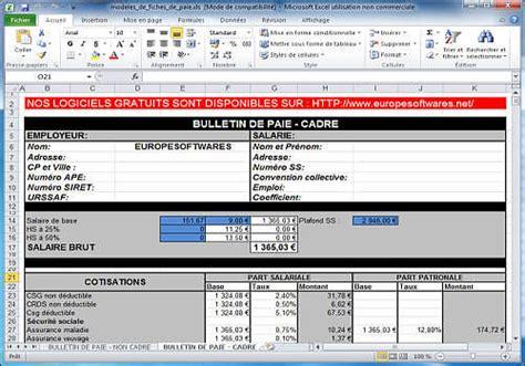 modele fiche de paie excel mod 232 les de fiches de paie cadre et non cadre 224 t 233 l 233 charger