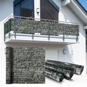 PVC Balkon Sichtschutz Sichtschutzfolie Schiefer 6x09m