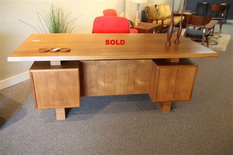 teak mid century executive desk set consign design edmonton