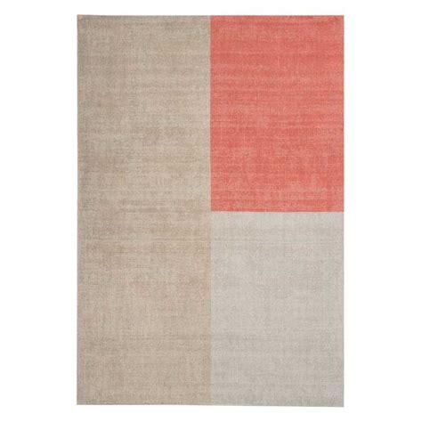 tapis contemporain en laine beige  corail design geoetrique