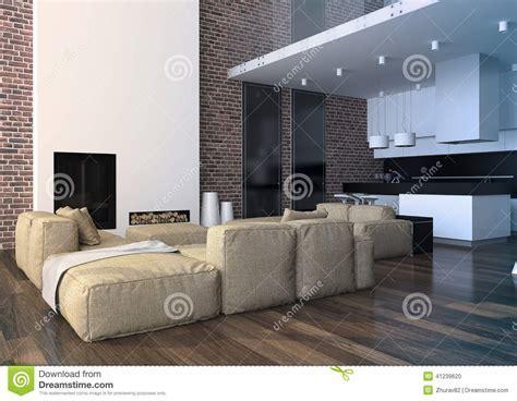 Modern Loft Living Room Interior. Stock Photo   Image