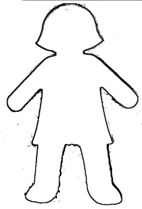 boy  girl pattern outline girl template paper doll