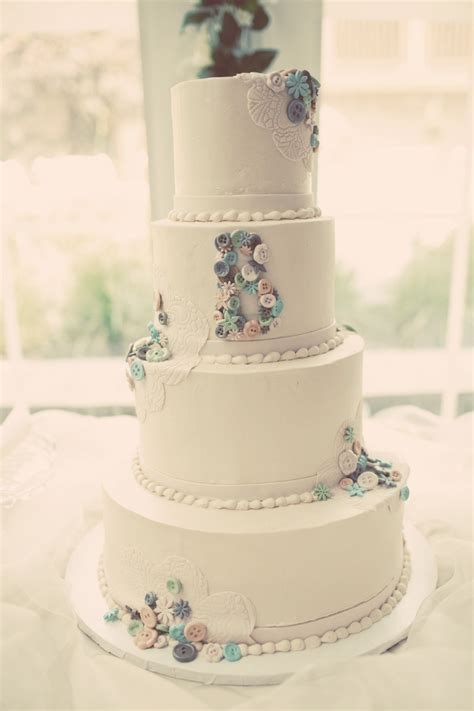 4 tier wedding cake four tier wedding cake handmade vintage with buttons and lace 1112