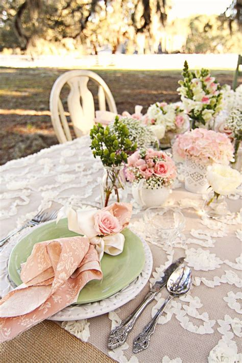 shabby chic wedding table settings shabby chic floral table setting tea time love pinterest