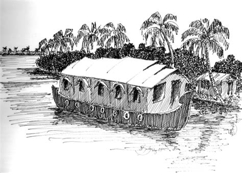Houseboat Sketch houseboat this is a pen ink sketch of a houseboat on