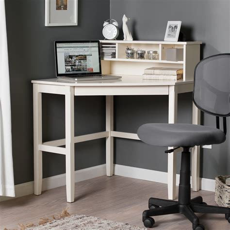 Small Bedroom Laptop Desk by Corner Laptop Writing Desk With Optional Hutch Vanilla