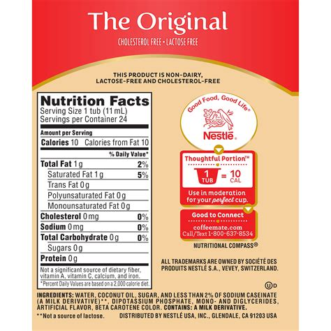 But its second ingredient is hydrogenated oil. International Delight Non Dairy Creamer Nutrition Facts | Besto Blog