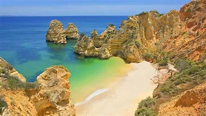 Portugal Lagos Beach Cliff Ocean Rock Background