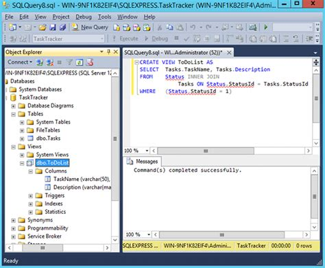 sql query to create table sql server 2014 views