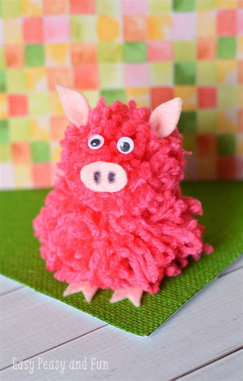 pom pom pig craft pom pom crafts easy peasy  fun