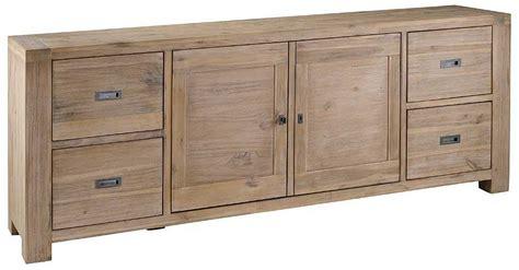 meuble bas de bureau meuble bas 2 portes 4 tiroirs nevada en acacia
