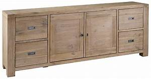Meuble Bas Porte : meuble bas 2 portes 4 tiroirs nevada en acacia ~ Edinachiropracticcenter.com Idées de Décoration
