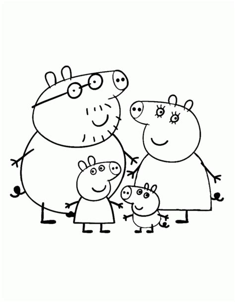 Peppa Pig Family Coloring Pages Coloring Home