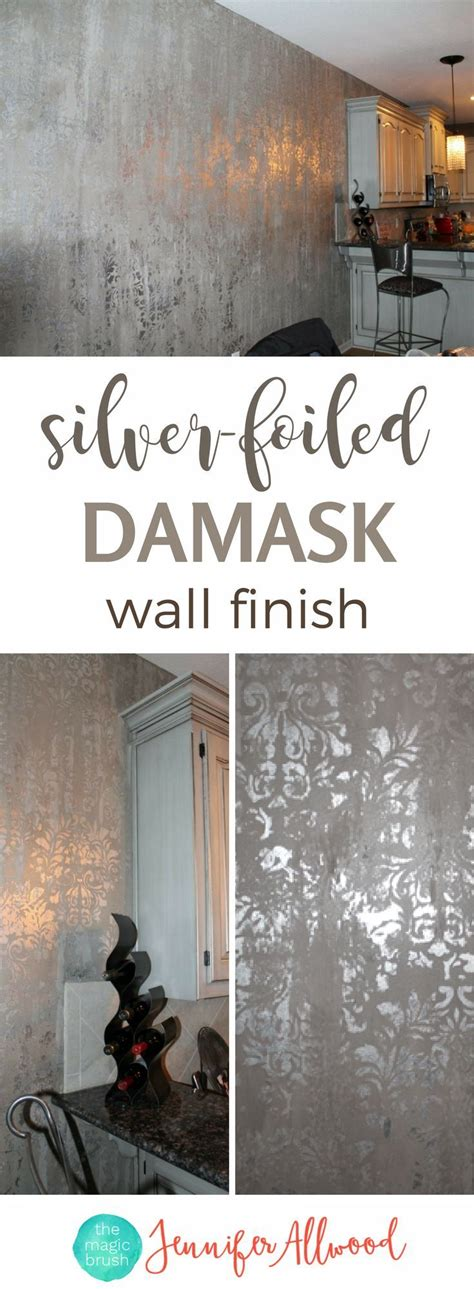 learn   paint  silver foiled damask wall finish