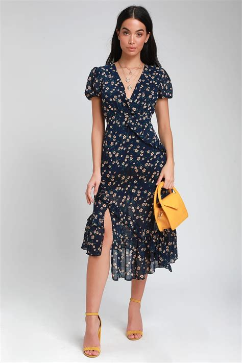 Petals and Poetry Navy Blue Floral Print Ruffled Midi ...