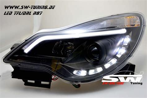 corsa d scheinwerfer sw drltube scheinwerfer opel corsa d facelift 11 15 led tfl r87 lighttube black tuning