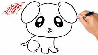 How to draw a puppy  dog   Very simple  Easy step-by-step drawing      How To Draw A Puppy