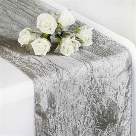 Silver Taffeta Crinkle Table Runner in 2019 Wedding