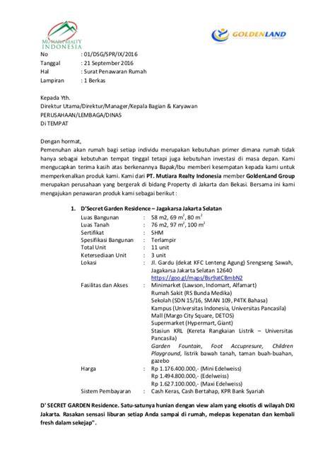 Contoh Surat Penawaran Barang Kantor by Surat Penawaran Perumahan