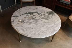 mid century round white marble and brass coffee or With white and brass coffee table