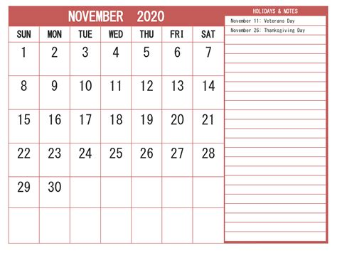 november  calendar  holidays word