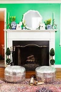 comment decorer son manteau de cheminee galerie d39idees With decorer un mur exterieur 11 un tapis blanc douillet pour decorer la chambre