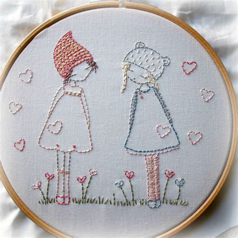 friends hand embroidery pattern