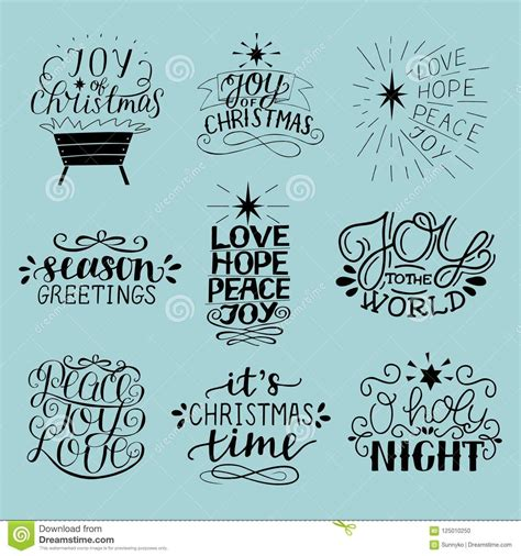 Set of 9 Christmas inscriptions with lettering O holy