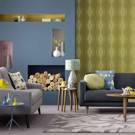 Retro Living Room Yellow by Blue And Yellow Living Room Graphic Wallpaper Teamed With