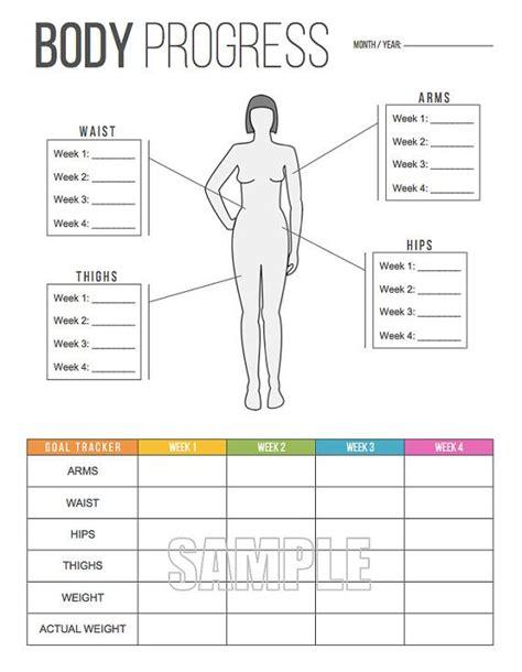 body progress tracker printable body  freshandorganized