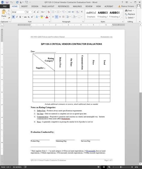 Iso 9001 Forms Templates Free by Critical Vendor Contractor Evaluation Iso Template