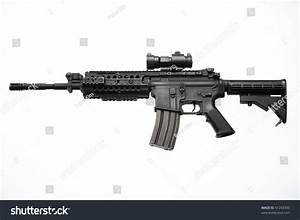 An American M4/M16 Assault Rifle With A Red Dot Scope Used ...