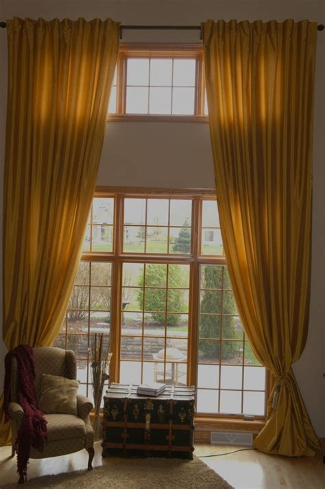 beautiful high ceiling window treatments with brown