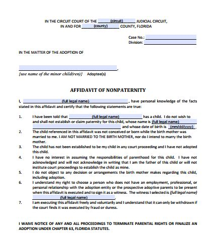 florida adoption forms  list  forms  instructions