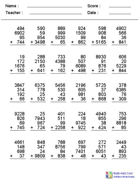 digit addition worksheets grade 3 four digit