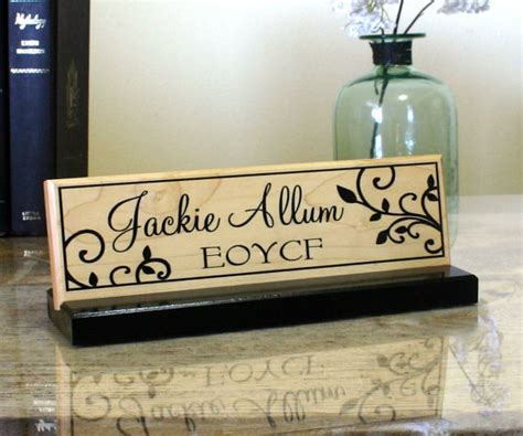 wooden name signs for desk desk name plate personalized desk name sign by customsignworks